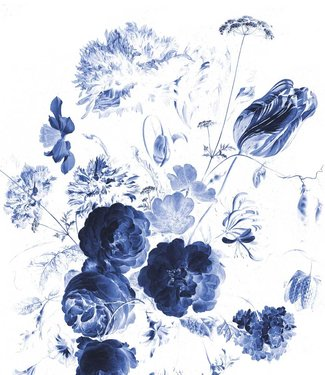 Tapetenpaneel XL Royal Blue Flowers, 190 x 220 cm