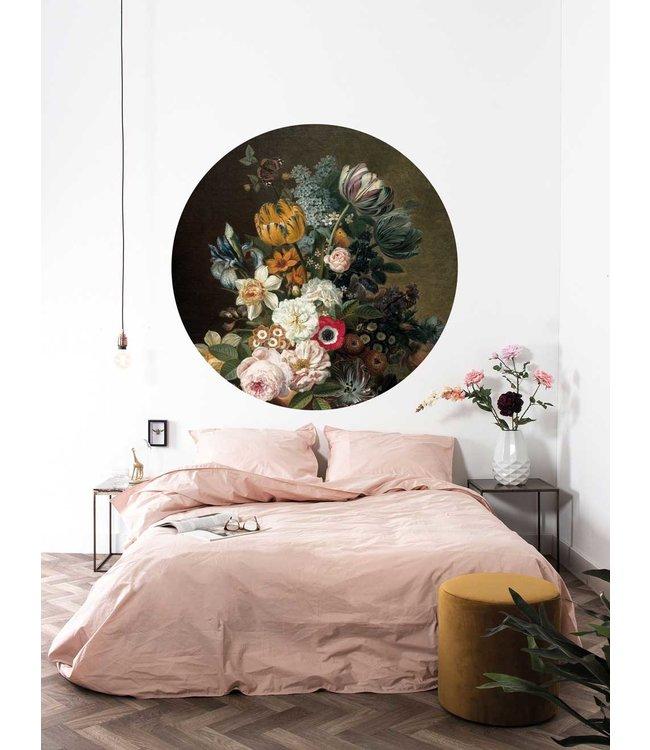 Tapetenpaneel rund Golden Age Flowers
