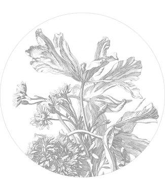 Tapetenpaneel rund Engraved Flowers