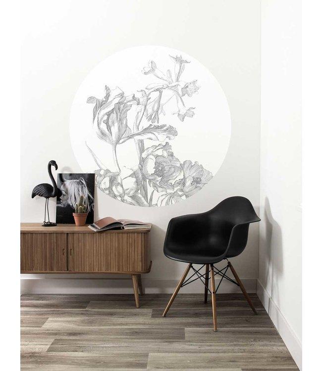 Wallpaper Circle Engraved Flowers