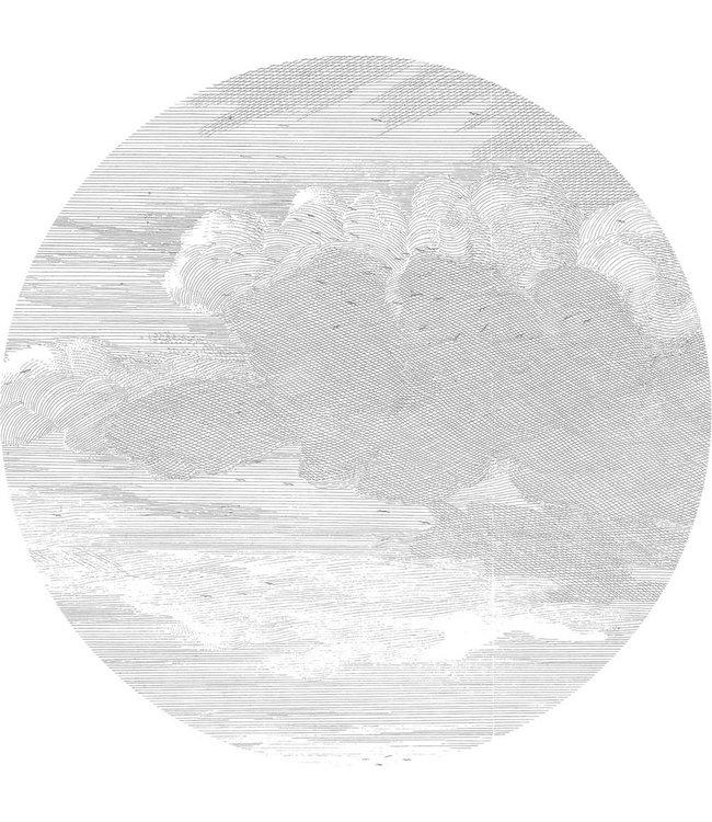 Tapetenpaneel rund Engraved Clouds