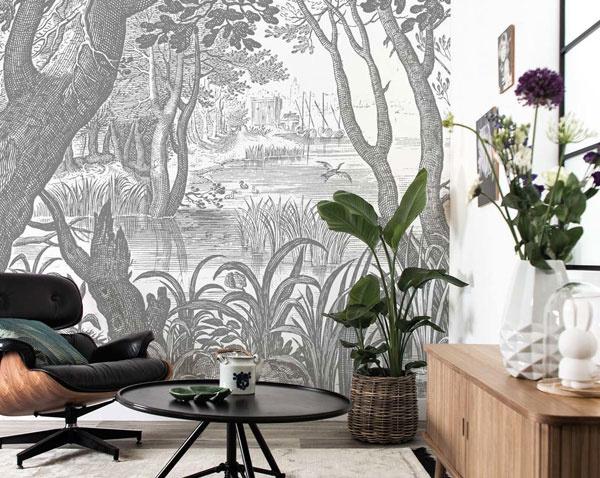Behang met getekende landschappen