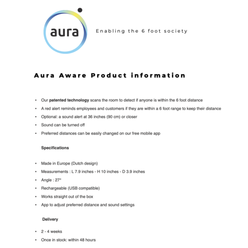 Aura Aware: de slimme afstand bewaker (incl Power supply)