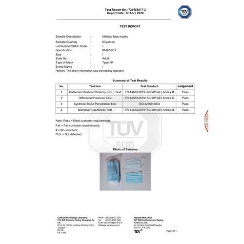 3NOD Chirurgisch Mondkapje Type IIR 3-laags
