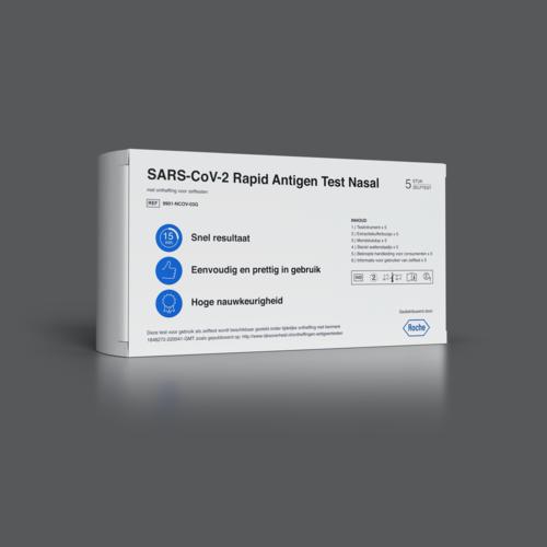 NIEUW: ROCHE SARS-CoV-2 Antigeen Sneltest Nasaal (Zelftest) – 5-PACK
