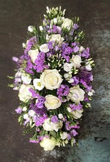Rouwstuk ovaal paars, wit