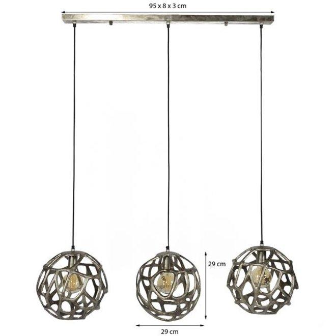 Hanglamp Enschede 3x19 bol zandgegoten aluminium