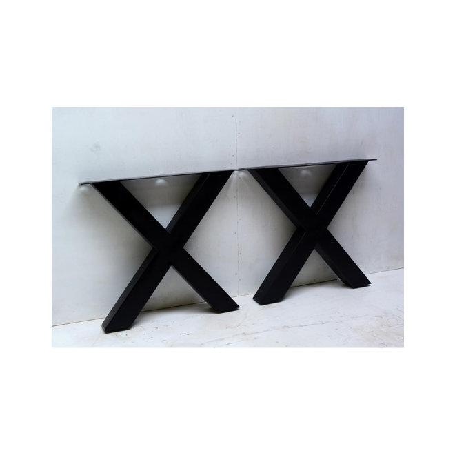Metalen tafelpoot X-poot zwart gecoat
