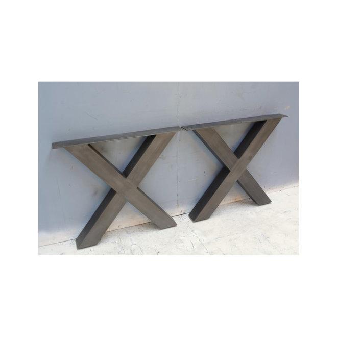 Metalen tafelpoot X-poot naturel blue