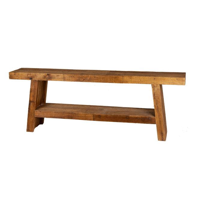 Balok sidetable schuin 220cm 9cm dik hout