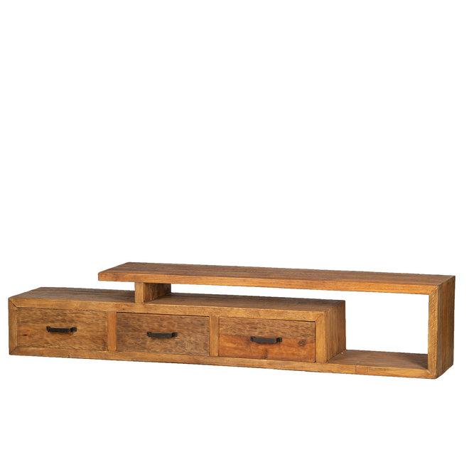 Balok TV meubel open 225cm 9cm dik hout