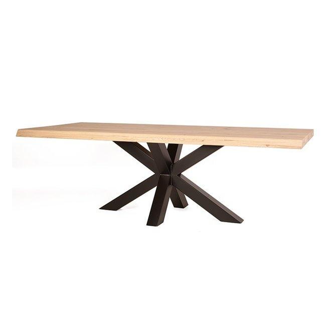 Boomstam tafel met spinpoot - 200cm tot 300cm