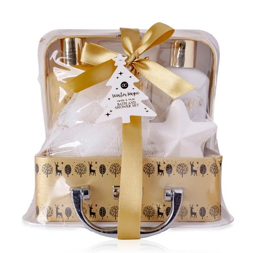 Winter Magic Badgeschenk set in leuke winterkoffer met strik - Vanilla & Musk - Cadeaupakket voor verjaardag vrouw