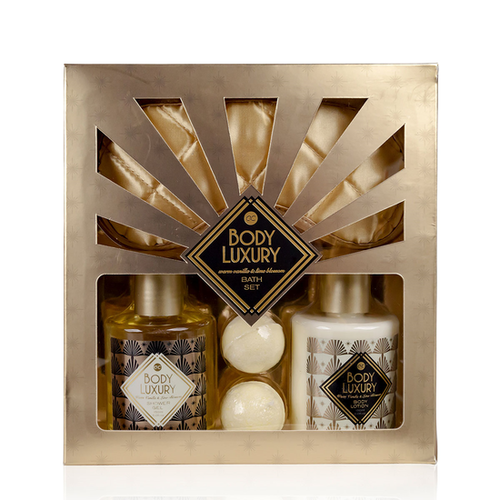 Body Luxury Body Luxury - Warm Vanilla & Lime Blossom - in geschenkverpakking + gouden slaapmasker
