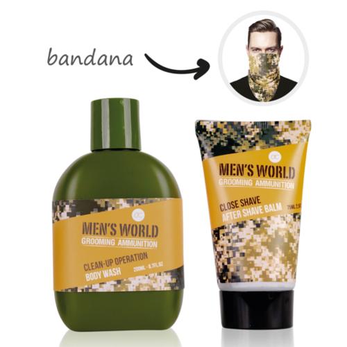 Men's World Stoer cadeau mannen - MEN'S WORLD - After shave Balsem, Body wash en een Stoere Bandana Camouflageprint - Oak & Amber geur