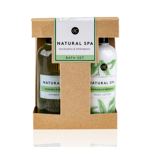 Natural Spa Bad Cadeau Natural Spa - Douchegel 100ml + Body lotion 100ml - Eucalyptus & Lemon Grass - Cadeautje voor vrouwen