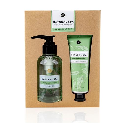 Natural Spa Handverzorgingsset Natural Spa - Hand- en nagelcrème 60ml + handzeep 150ml - Eucalyptus & Lemon Grass - Leuk cadeautje