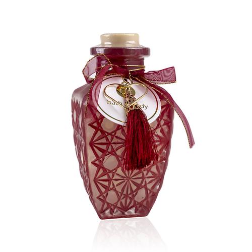 Bath & Body 240 ml Douche- en badgel Rood in Glas/ Ivoor - met gouden hartje - Vanilla shimmer - Moederdag cadeautje