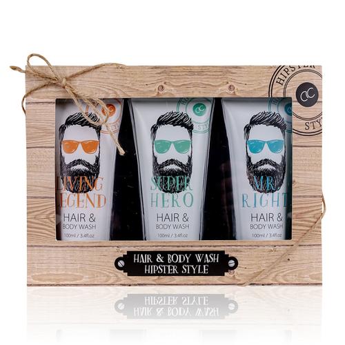 Hipster Style HIPSTER STYLE - 3-delig Hair & Body Wash in Geschenkverpakking - Oak & Citrus geur - cadeau voor man