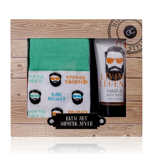 Hipster Style HIPSTER STYLE - Hair & Body wash Oak & Citrus geur en Grappige Leuke Sokken