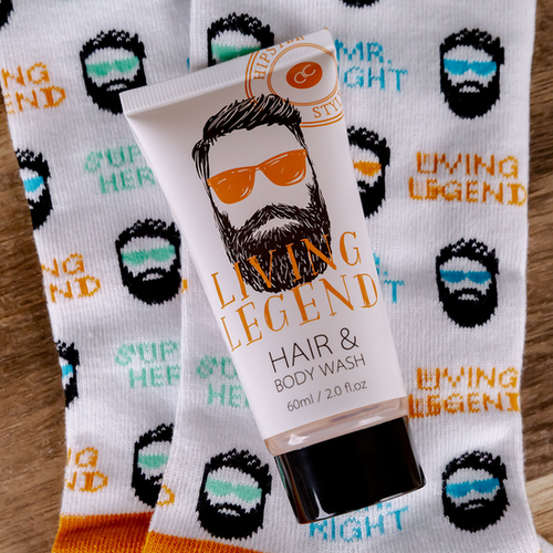 Hipster Style Grappig Cadeauset mannen - HIPSTER STYLE - Hair & Body wash Oak & Citrus geur en Grappige Leuke Sokken - Hipster Cadeau