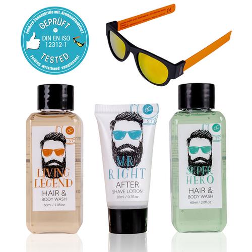 Hipster Style Geschenkset mannen - HIPSTER STYLE - After shave, Hair & Body wash en een Leuke (vouwbare) Zonnebril in Geschenkverpakking
