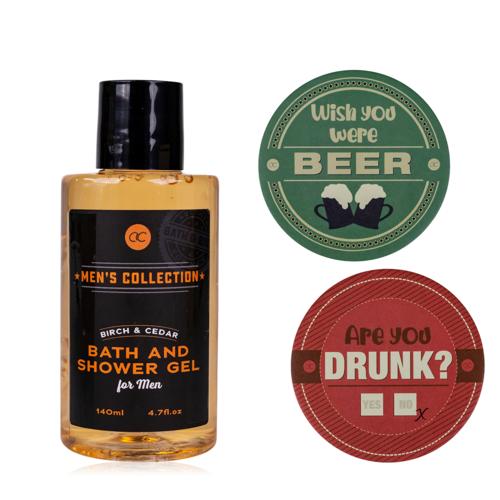Men's Collection Grappig cadeau voor hem - Bad en Bier viltjes cadeau - Men's Collection - Birch & Cider