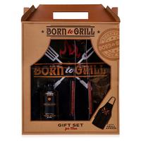 Barbecue cadeau met schort - Born to Grill - Berk & Cider