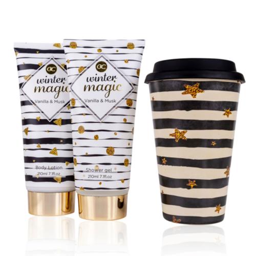 Winter Magic WINTER MAGIC cadeaupakket vrouwen - Combi set badset + Thee / Koffie TO-GO Beker - Vanille & Muskus
