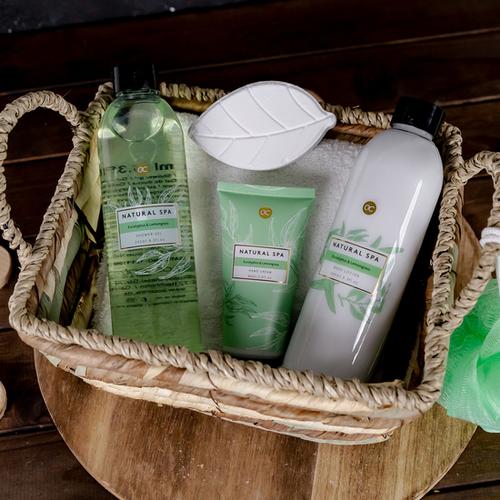 Natural Spa Natural Spa geschenkset vrouwen - In zeegras mand - Eucalyptus & Lemongrass - SPA voor thuis