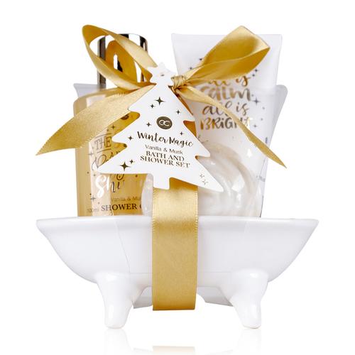 Winter Magic Badset WINTER MAGIC in badkuip met strik – Vanilla & Musk - in mooi keramisch badkuip - Cadeau voor vriendin