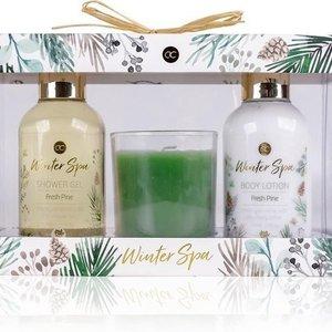 Winter SPA Badset Winter SPA + Geurkaars - In winter geschenkverpakking - Fresh Pine