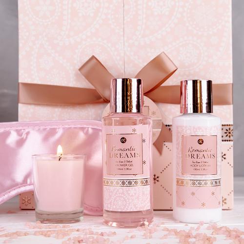Romantic dreams Badset ROMANTIC DREAMS - met strik – Tea rose & Velvet - Romantisch Cadeau voor vriendin