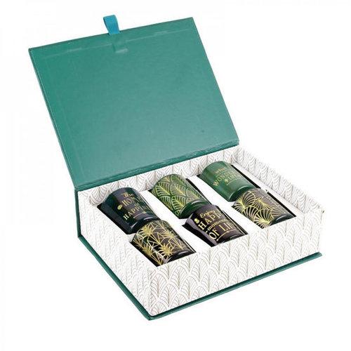 DITES LE AVEC DES MOTS Prachtige geurkaarsen cadeau in mooie geschenkdoos - GROEN MET GOUD - met mooie teksten op elke kaars