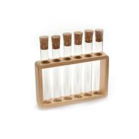 6-delige tubes in houten tube houder - reageerbuisjes glas met kurkdop LEEG - voor thee - kruiden