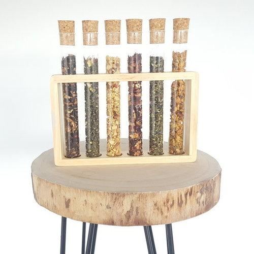 Cha Cult Reageerbuisjes glas met kurkdop LEEG - 6-delige tubes in houten tube houder - voor thee - voor kruiden - voor specerijen - cadeauset