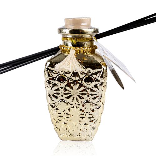 AC Geurstokjes Romantic Vintage - 240 ml - Huisparfum - Kruidig Orange/Cinnamon - Gouden Glazen fles met Hartjes hanger