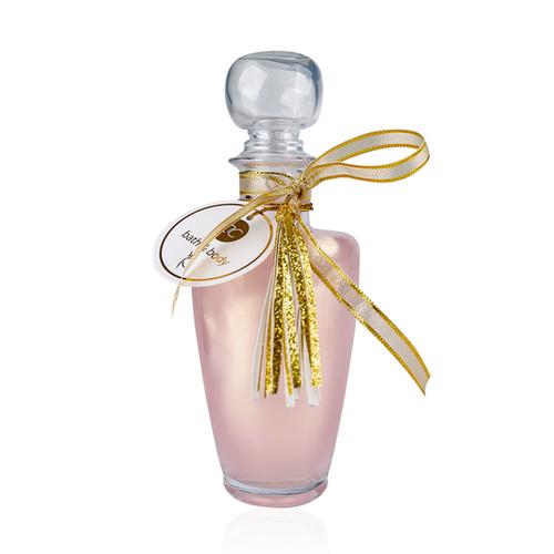 Bath & Body 200 ml Douche- en badgel Lotus blossom in Glas - lichtroze/ gouden shimmer lint - Verwen Cadeautje