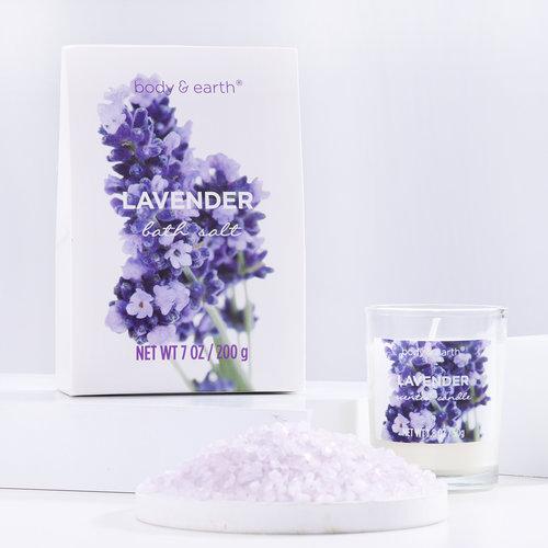 Body & Earth Geschenkset in grote badkuip - Lavendel Home Spa - Cadeaupakket vrouwen