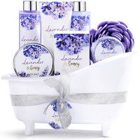 Geschenkset in witte badkuip - Lavendel & Honing