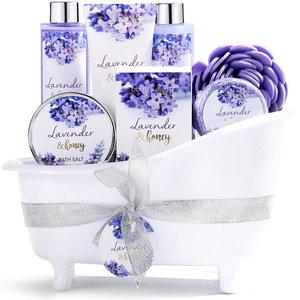 Body & Earth Geschenkset in witte badkuip - Lavendel & Honing