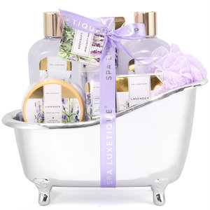 Spa Luxetique Geschenkset in zilveren badkuip - Lavendel Dream
