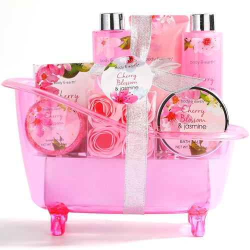 Body & Earth Geschenkset in roze badkuip - Cherry Blossom & Jasmine