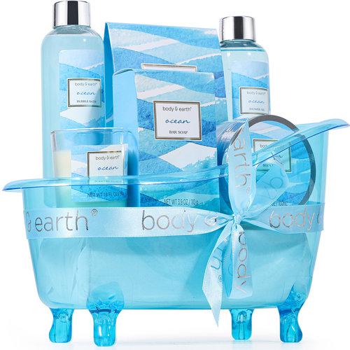 Body & Earth Geschenkset in blauwe badkuip - Ocean