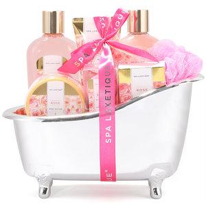 Spa Luxetique Geschenkset in zilveren badkuip - Rose Beauty & Shea butter