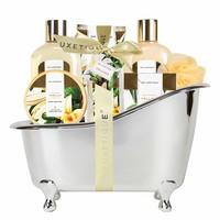 Cadeaupakket in zilveren badkuip - Vanilla & Shea butter