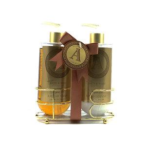 AC Luxe badset Argan olie in gouden metalen mand