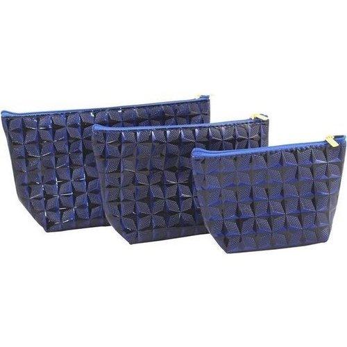AC 3-delige make-up tassen set - 3 formaten - Blauw