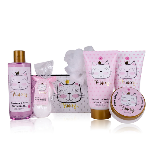 Princess Kitty Badset kinderen - Princess Kitty in glitter mand - Roze