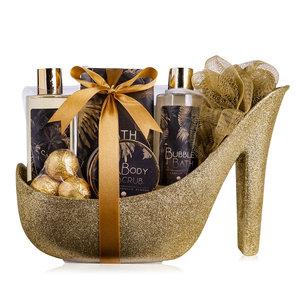 Body Luxury Badset in glitter pump Goud - Beautiful shine - Vanilla Almond